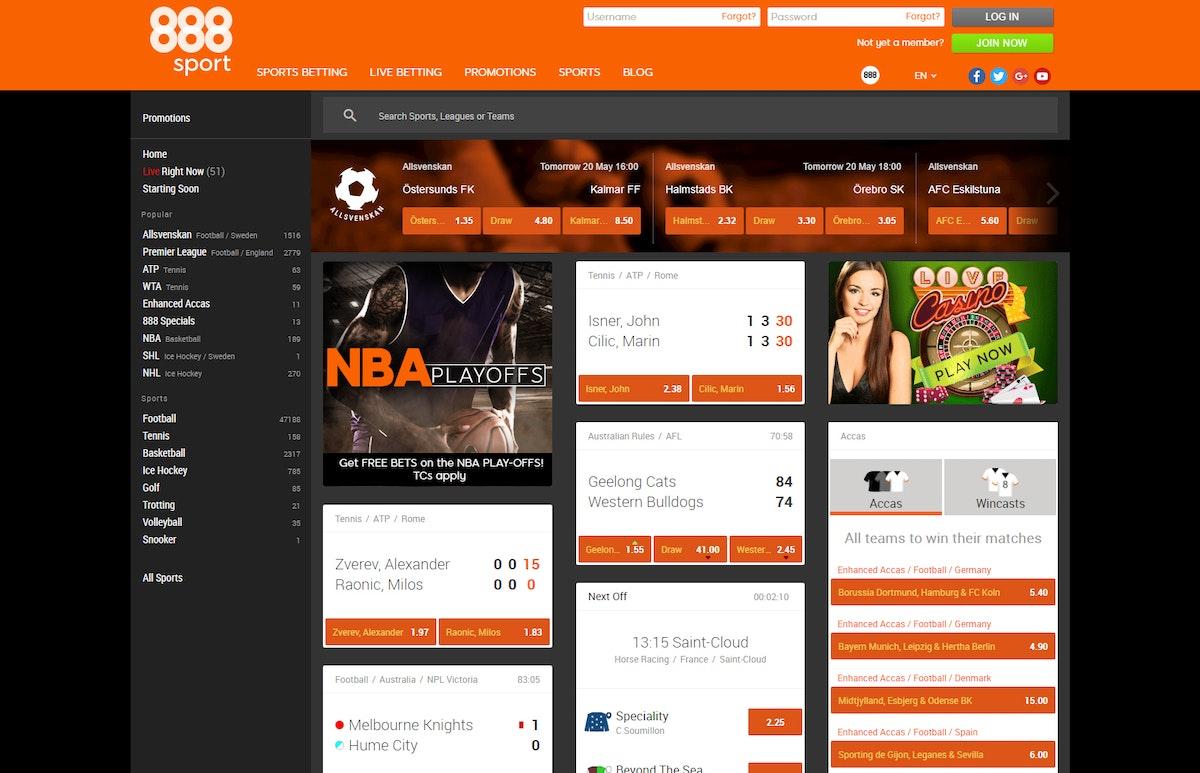 888Sport Sportsbook Site PayPal